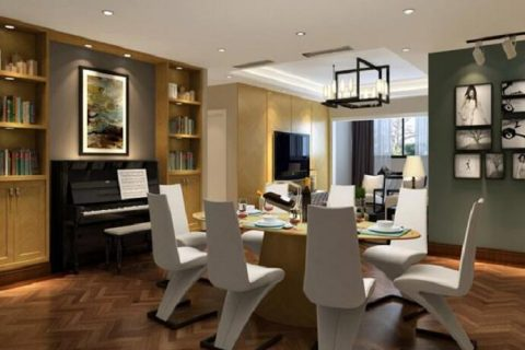 中海城南华府装修设计效果图-现代风格三居室装修