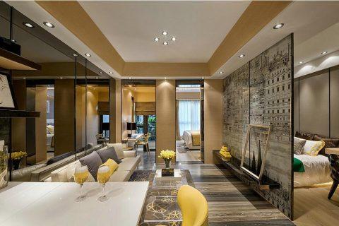 河畔新世界装修设计效果图-两室两厅一卫案例-客厅装修效果图